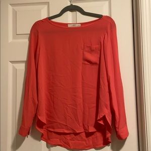 Coral Pink Loft Long Sleeve Blouse Small Petite